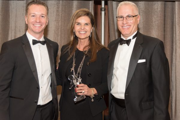 Maria Shriver, center, flanked by Dr. Joshua Grill and Dr. Frank LaFerla, involved in the UC Irvine MIND institute.