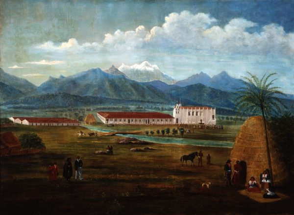 """San Gabriel Mission"" by Ferdinand Deppe, 1832-35. A gift to Laguna Art Museum from Nancy Dustin Wall Moure."