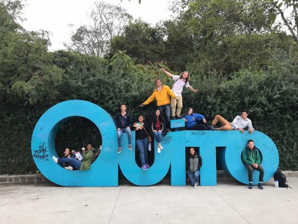 "Jack Dickerson (in the ""O"") in Quito, Ecuador. Photo by Melisa Mantilla."