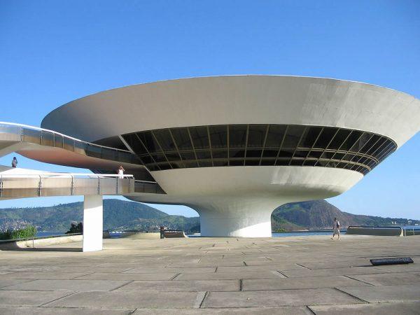 Oscar Niemeyer's Niterói Contemporary Art Museum near Rio de Janeiro, Brazil, is one of the city's main landmarks.
