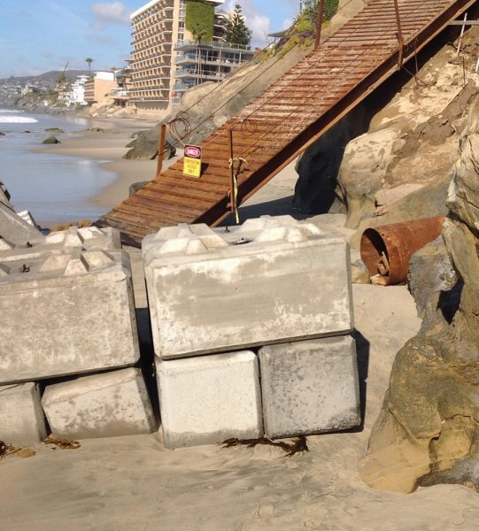 A temporary block seawall was removed from Agate Street Beach this week and will be reinstalled only as the project requires protection. Photo courtesy of James Pribram.