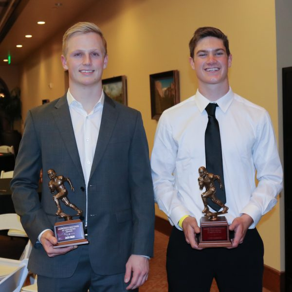 Seniors Zach Fields, left, and Curtis Harrison were the top honorees at the 84th annual Laguna Beach HS Football banquet held on Tuesday, Jan. 9. Fields was the named the 84th annual team MVP and also was lineman of the year by the Orange Coast League and the team's top scholar athlete. Harrison, the quarterback the past two seasons, set the school career record for rushing and passing plays. He was named the teammate of the year and the Skipper Carrillo award winner. Photo courtesy of Lisa Fields