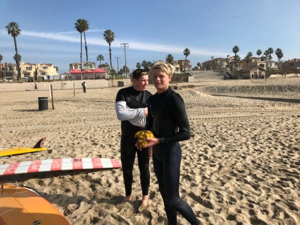 Sam Starr, left, and Jackson Jenkins competing for LBHS in Huntington Beach.