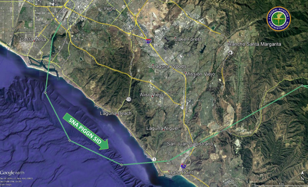 A map of the prescribed flight path from John Wayne Airport crosses the coastline at Salt Creek Beach, though some noise-impacted residents in South Laguna say aircraft stray from the route.