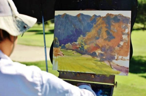 Artists receive tips on painting out of doors.  Photo courtesy of LOCA.