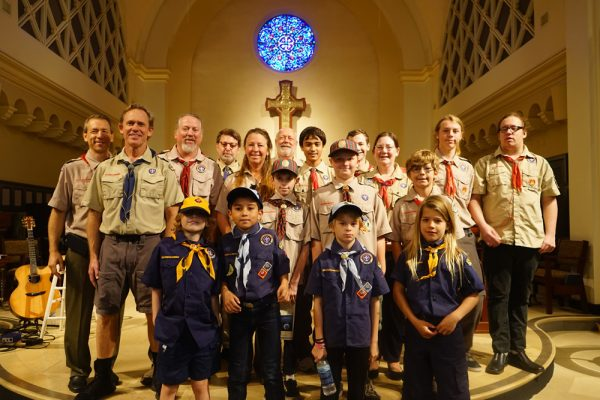 Scouts attending the church event, front row, from left; Declan Ross, Alex Insurralde, Thomas Jensen and Elija Sullivan; second row, Nicholas Jensen, Gavin Greene and Elliott Leeds; third row, leaders Dr. Aaron Spitz, Taylor Greene, Clay Leeds, Tom Fay, Kimberly Leeds, Michael Lindsey, David Spitz, Stephen Jensen, Pam Jensen, Logan Leeds and Calem Lindsey. Photo by John Cullings.