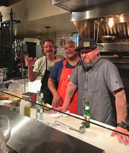 From left, defunct Café Zoolu owner Michael Leech, Jimmy Brice of Newport Beach Tennis Club, and Ryan Adams, chef-owner of 370 Common in Laguna Beach, volunteered to assist when Roux closed unexpectedly.Photo by Heidi Miller.