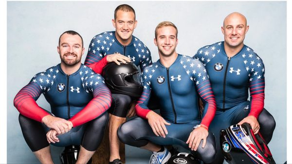Newport Beach native Carlo Valdes (far left) and his four-man bobsled team compete this weekend in South Korea. Photo courtesy US Weekly.