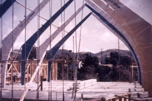 The current Congregational Church sanctuary under construction in the 1960s.