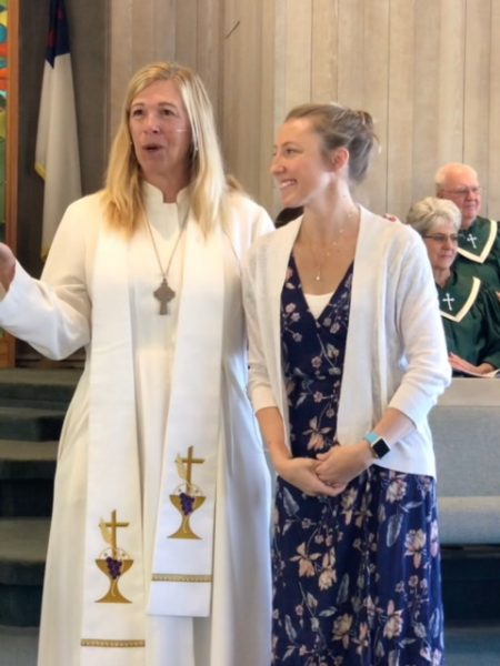 Jen Kucera Rothman, right, with Methodist Pastor Lynn Francis.