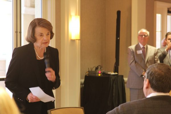 California Senator Diane Feinstein greets supporters in Newport Beach on Monday, March 26. Photo by Andrea Adelson.