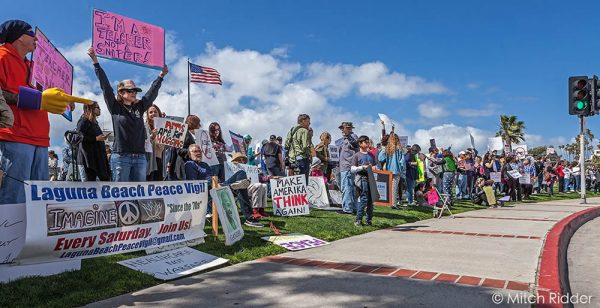 A large crowd demonstrates support for gun controls at Main Beach on Saturday. Photo by Mitch Ridder.