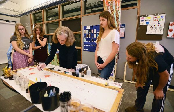 Student-painted botanical banners created at a silk painting workshop taught by Olivia Batchelder will be featured at a 6 to 8 p.m. Forest and Ocean Gallery reception April 19. Photo by Adrienne Helitzer.