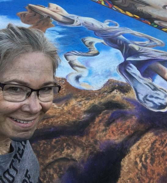 Chalk smudges reveal Maribeth McFaul's artistic medium.