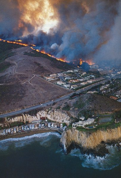 City officials want residents to be better prepared to cope with disasters such as the '93 fire, seen here as its north advances around Irvine Cove.