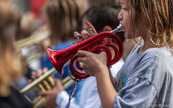 Fourth-grader Bear Balossi performs in the Laguna Beach unified elementary band. Photo by Mitch Ridder.