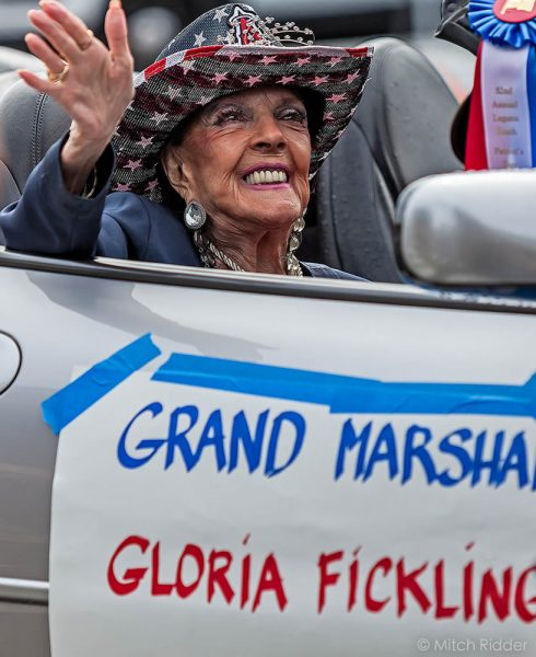 Grand marshall Gloria Fickling revels in her moment in the spotlight. Photo by Mitch Ridder.