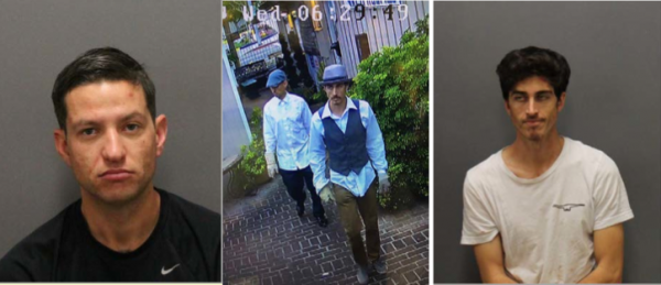 Alexander Aguirre, left, and Edward Torrison, right, are the suspected in a break-in and in surveillance video. Photo courtesy of LBPD