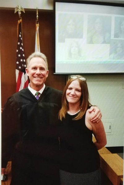 Judge Matthew Anderson congratulates Michelle Cleary when graduating from drug court in 2015 with 1,030 days of sobriety. Photo courtesy o Michelle Cleary.