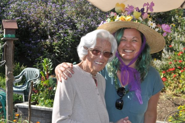 Gardener Carly Sciacca and her grandmother Kay Dewhirst at Eagle Rock Way and Coast Highway, site of last year's Spring Fling.