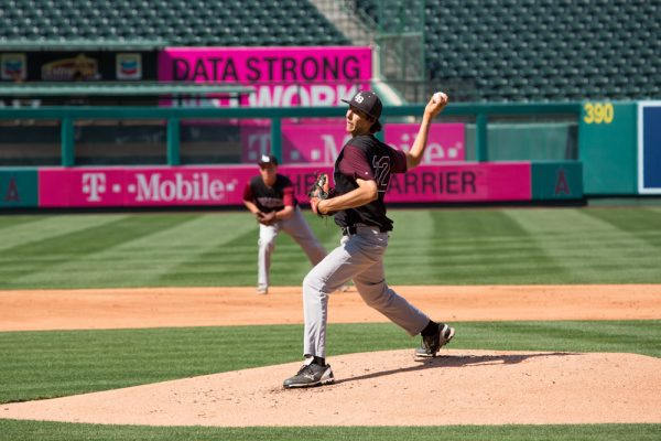Blake Burzell pitches at Angels Stadium in 2015.