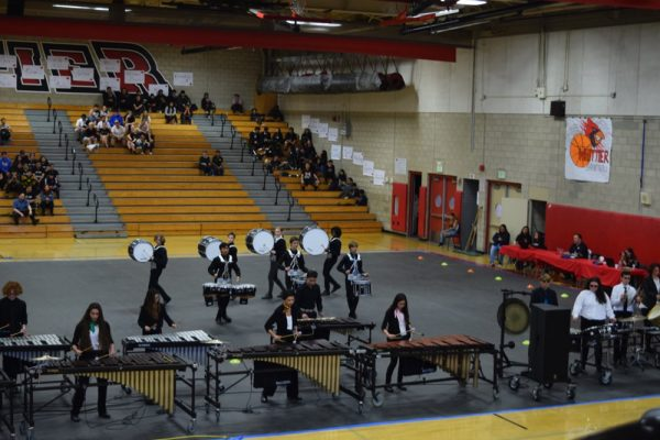 Drum line members at a recent competition.