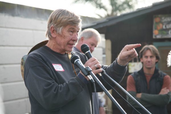 Morrie Granger speaks at the opening of the South Laguna Community Garden in 2009.