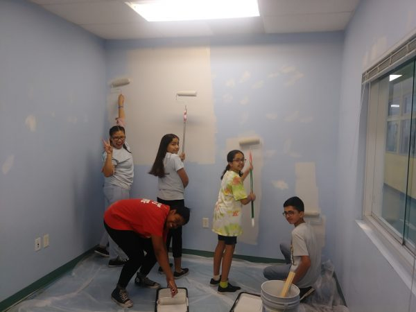 Half of the teen team that helped out with improvements at the canyon branch.