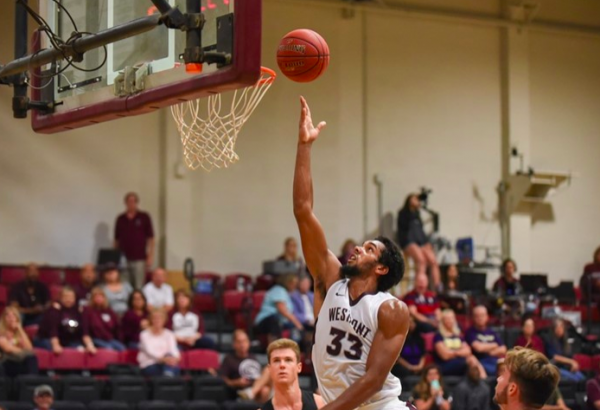 Player Noah Blanton during a Westmont College game. Photo by Caleb Jones.