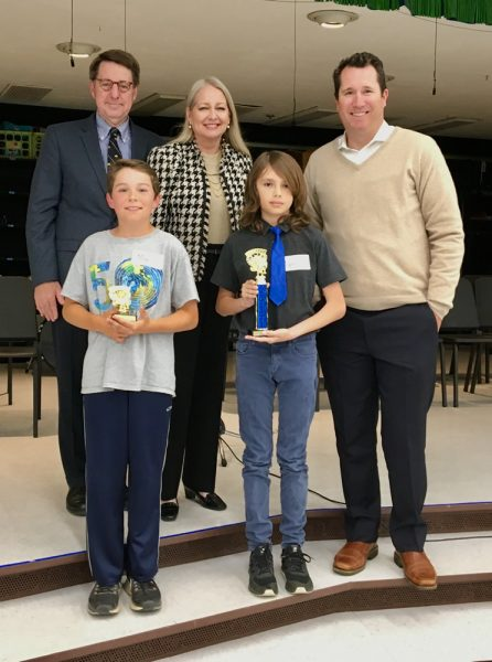 First Place Spelling Bee champion Lyric Hagen, right, and runner-up Max Reimers with judges Tom Fay, left, Kathleen Fay and Jason Vitoria.   Photo by Juliett Chesley