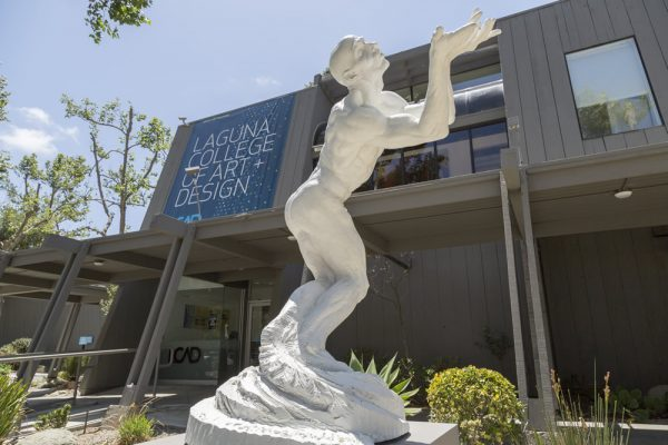 """Butterfly"" embellishes the LCAD campus, a loan from sculptor Richard MacDonald."