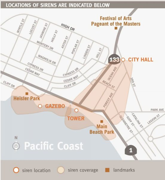 The new emergency message systeml will be heard from Broadway Street and Laguna Avenue and across Main Beach and Heisler Park,