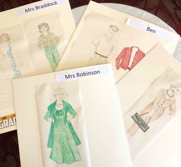 Examples of costume drawings by Laguna Playhouse