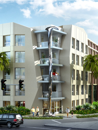 ": A rendering of ""Mercury Falling,"" a work Laguna Beach artist Jorg Dubin is fabricating in China for an Irvine apartment complex."