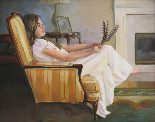 "Artist Jill Petrilak's informal portrait ""Turkey Feathers"" is part of the CAP exhibition."