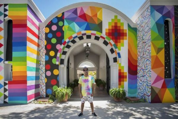 Muralist Okuda San Miguel recently transformed Art-a-Fair's exterior.
