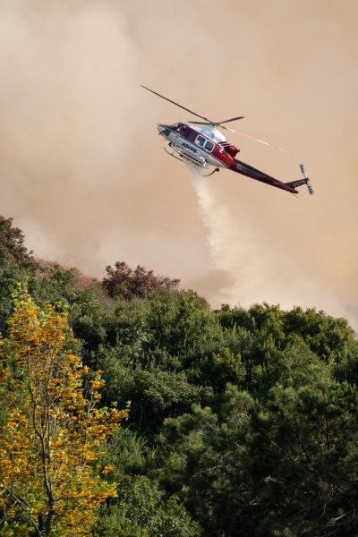 Helicopter battles the rapidly spreading Aliso Fire on Saturday, June 2. Photo by Mark Golter.