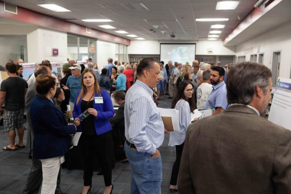 he public filled the Laguna Beach High School library Wednesday a hearing on the environmental assessment of impending Laguna Canyon Road improvements. Photo by Allison Jarrell.