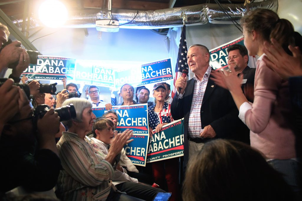 Republican incumbent Dana Rohrabacher speaks to a crowd at his Costa Mesa campaign headquarters Tuesday after most votes were counted and had him in a strong lead. — Photo by Sara Hall ©