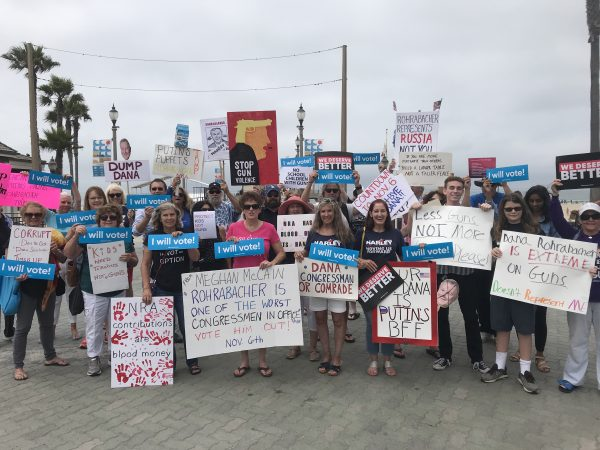 A rally this week outsided Rep. Dana Rohrabacher's office in Huntington Beach. Photo by John Vitzileos
