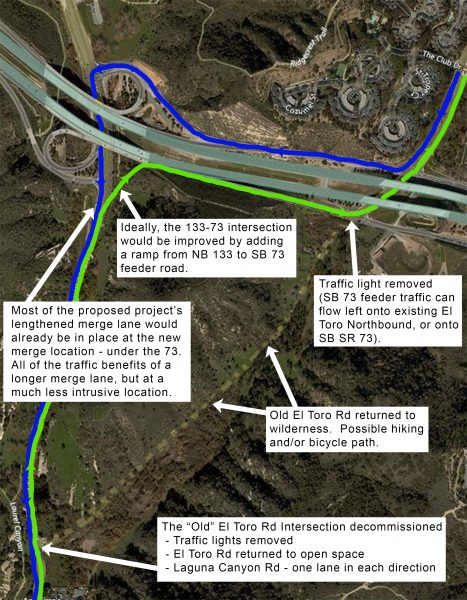 A map showing options to improve the El Toro Road intersection at Laguna Canyon.