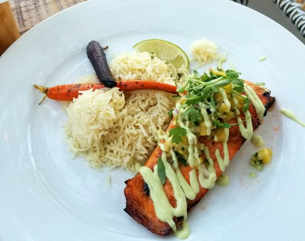 Terra menu items include salmon with a sweet-spicy pineapple and ginger citrus salsa with avocado cream drizzle.