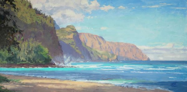 ": Pierre Bouret's ""Napali Morning"" is included in the exhibit."