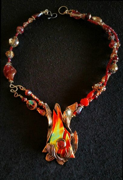 "Sherry Cohen's ""Rising Flame"" $350 necklace is included in the Red Hot exhibit."