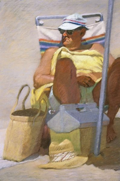 "Sally Strand's ""Man With Yellow Towel"" is part of the City Hall pastel show."