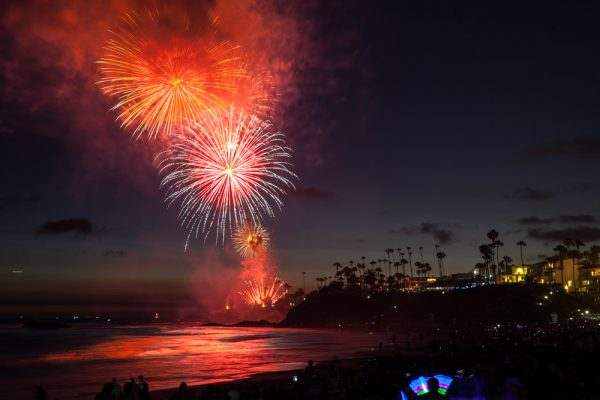 Pyrotechnics light up Main Beach during the annual fireworks show. Photo by Allison Jarrell