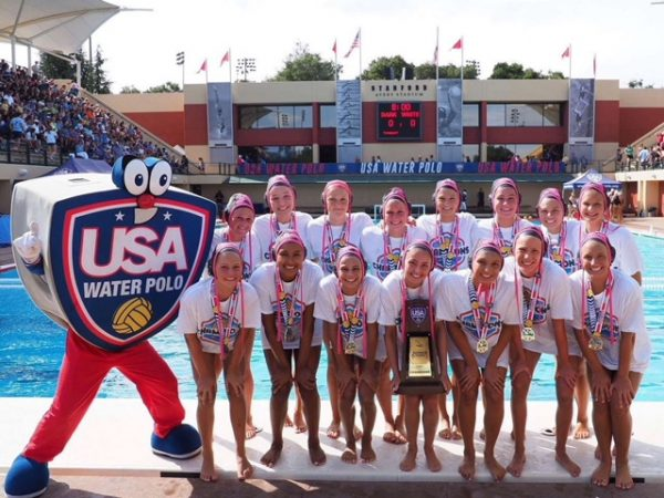 The SET Water Polo Club defeated Santa Barbara's 805 Squad 6-5 to capture the 16's division at USA Water Polo's Junior Olympics at Stanford's Avery Pool. Back row, left to right: Jenna Dickstein, Emma Singer, Quinn Winter, Caroline Christl, Grace Houlahan, Mara Laughlin, Savannah Burns, Morgan Van Alphen. Front row, left to right: Rachael Carver, Kenedy Corlett, Jessie Rose, Kori Bento, Emma Lineback, Nicole Struss, Molly Renner. Not pictured: Coaches Ethan Damato and Trevor Lyle. Photo courtesy of the Rose family.