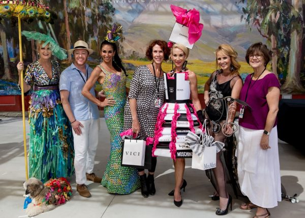 (From left) The winners of the 2018 Festival Runway Fashion Show: artist Carolyn Johnson, artist Adam Neeley with his model Julie Holmes, artist Kate Cohen with model Mary Schmidt, and model Erika Schiendele wearing an outfit designed by artist Kirsten Whalen. Photo courtesy of Festival of Arts