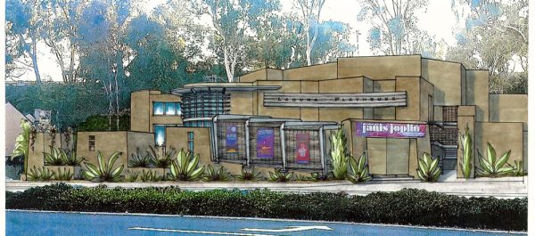 Architect Mark Abel's rendering of the new Laguna Playhouse design includes an aluminum origami-shaped pergola, banners attached to stainless wire mesh between aluminum supports, aluminum louvers over windows, a new playhouse sign, new landscaping and more. Image courtesy of Mark Abel.