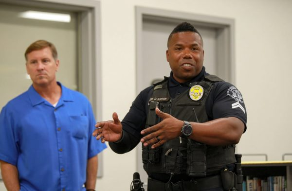 Cpl. Cornelius Ashton, the newly appointed SRO for LBUSD, and El Morro Principal Chris Duddy, participate in an active shooter exercise on Aug. 1. Photo courtesy of LBUSD